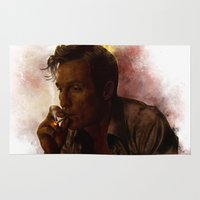 true detective Area & Throw Rugs featuring True Detective : Rust Cohle  by p1xer