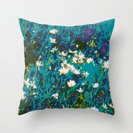 Daisies smothered in Teal Throw Pillow
