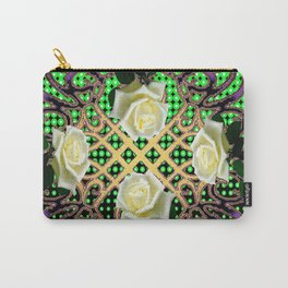 PUCE ORNATE WHITE ROSE GARDEN  TAPESTRY Carry-All Pouch