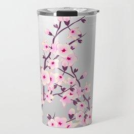 Cherry Blossoms Pink Gray Travel Mug
