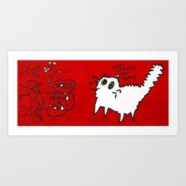 White Cat, friend or food? Art Print