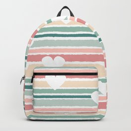 cute lovely horizontal striped pattern background with hearts Backpack