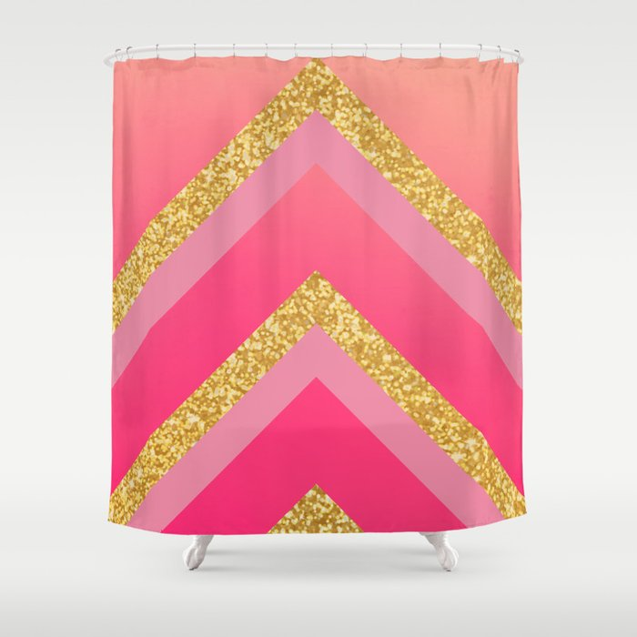 Pink Ros Coral Gold Triangles