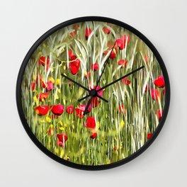 Red Corn Poppies Wall Clock
