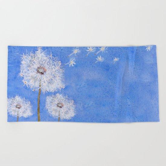 flying dandelion watercolor painting Beach Towel