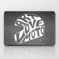 moto iPad Cases featuring Art Love Moto Helmet by Kris Petrat Design :  Art Love Moto