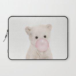Bubble Gum Polar Bear Cub Laptop Sleeve