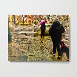Rainy Street Crossing (c hdr) Metal Print