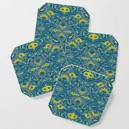 Blue Vines and Folk Art Flowers Pattern Coaster