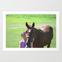 Person child and horse Art Print
