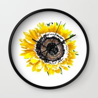 sunflower Wall Clocks featuring Sunflower by Regan's World