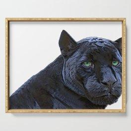 Black Panther Panthera Face Black Deep Color Sexy Mammal Serving Tray
