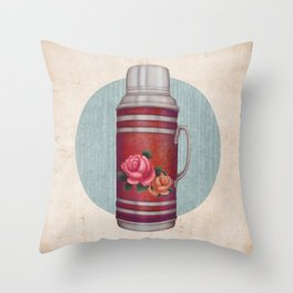 Retro Warm Water Jar Throw Pillow