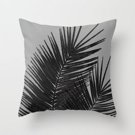 Gray Black Palm Leaves with Black Silver Glitter #1 #tropical #decor #art #society6 Throw Pillow