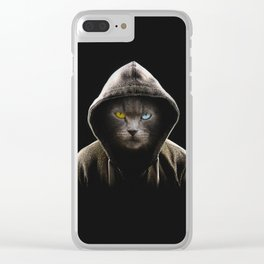Cool Black Cat Hooded Pullover Clear iPhone Case