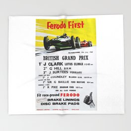 British Grand Prix, Silverstone, 1965, Vintage Poster, car poster Throw Blanket