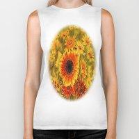 sunflowers Biker Tanks featuring SUNFLOWERS by Vargamari