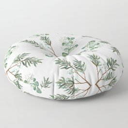 Winter Branches and Juniper Berries on White Floor Pillow