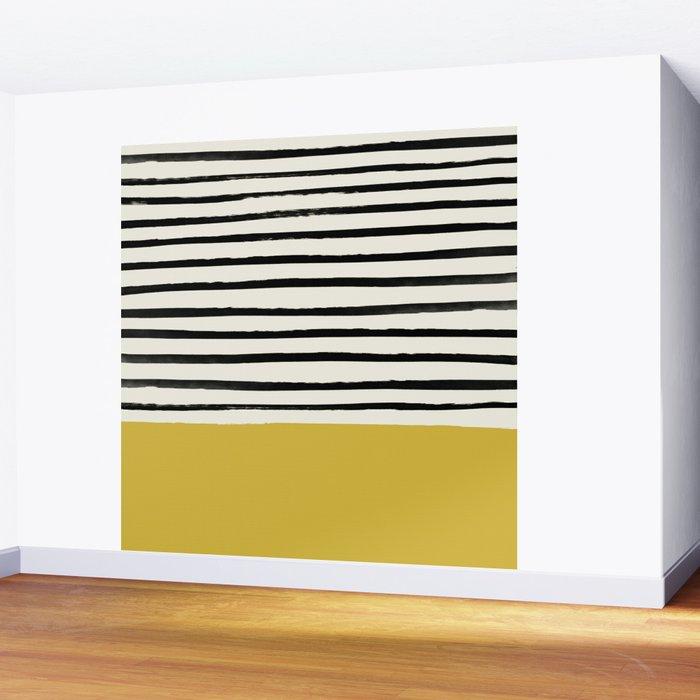 Mustard Yellow & Stripes Wall Mural