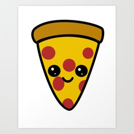 Kawaii Pizza Art Print