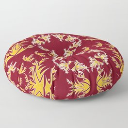 Maroon, Gold and White Floral Trio Floor Pillow