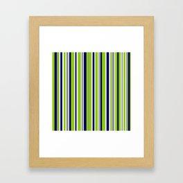 Lime Green Bright Navy Blue Gray and White Vertical Stripes Pattern Framed Art Print