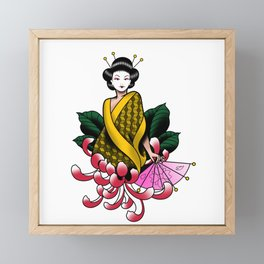 Chrysanthemum Geisha Framed Mini Art Print