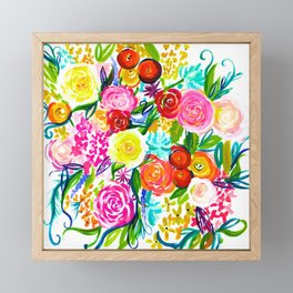 Bright Colorful Floral painting Framed Mini Art Print