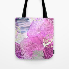 Abstract Watercolor Pink Silver Gold Glitter Floral Tote Bag