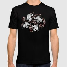 Laughing Baby Elephants - Coral Mens Fitted Tee Black 2X-LARGE