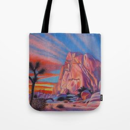 Glowing Joshua Tree sunset as the climbing day draws to a close Tote Bag