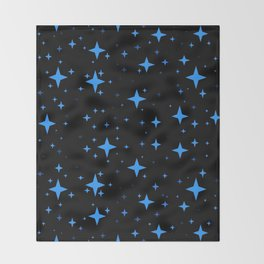 Bright Blue  Stars in Space Throw Blanket