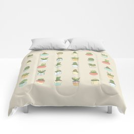 Cute Succulents Comforters