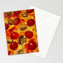 Pepperoni and Mushroom Pizza Stationery Cards