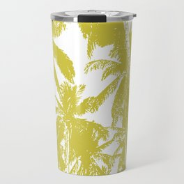 Palm Trees Design in Gold and White Travel Mug