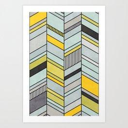 Colorful Concrete Chevron Pattern - Yellow, Blue, Grey Art Print