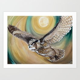 On the wings of an owl in the pale moonlight Art Print