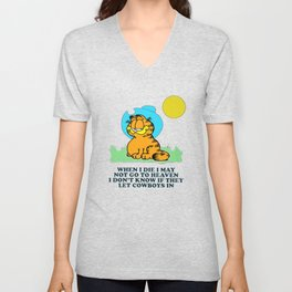 when i die i may not go to heaven garfield Unisex V-Neck