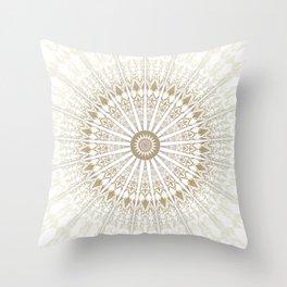 Khaki White Mandala Throw Pillow