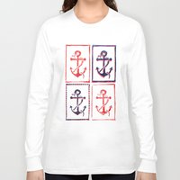 anchors Long Sleeve T-shirts featuring Abundant Anchors by Isobel Woodcock Illustration
