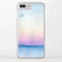 Blue sea watercolor Abstract painting seascape landscape wave art sky pink cloud sunset sunrise Clear iPhone Case