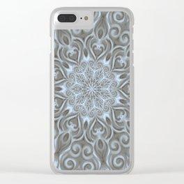 Light Blue Center Swirl Mandala Clear iPhone Case