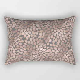 Rosegold flowers - abstract floral elegant pattern on grey background Rectangular Pillow