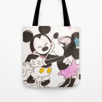 minnie Tote Bags featuring Mickey & Minnie by karl oconnor
