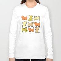 cartoon Long Sleeve T-shirts featuring Cartoon Kitties by Irina  Romanovsky
