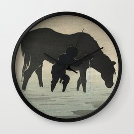 Man Washing His Horse in the Sea - Vintage Japanese Woodblock Print Art Wall Clock