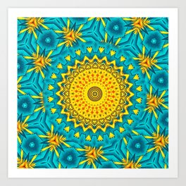 Birds of Paradise Circular Geometric Blended Floral Pattern \\ Yellow Green Blue Teal Color Scheme Art Print