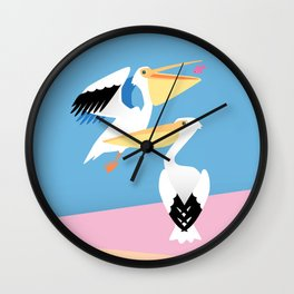 Two Pelicans – Illustration of pastel colored birds Wall Clock