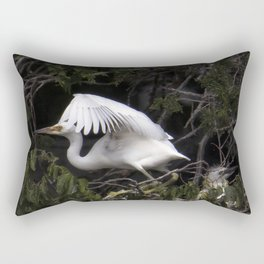 Egret Learning to Fly Rectangular Pillow