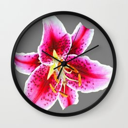 GREY FUCHSIA PINK ASIATIC LILY FLOWER  ABSTRACT ART Wall Clock